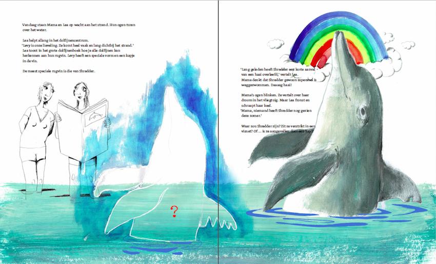 Illustraties: Anna De Palmenaer, uit 'Wilde dolfijnen langs je benen' - auteur: Joke de Vreeze - © uitgever KoomBana Bay