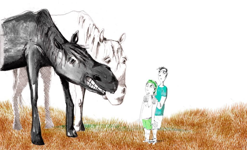 Illustratie Anna De Palmenaer - uit 'Het paard werd kwaad' - van Joke de Vreeze - Verhaaltjes van jullie